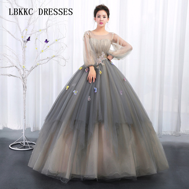 Quinceanera Dresses Grey Tulle With Embroidery Lace Long Sleeves