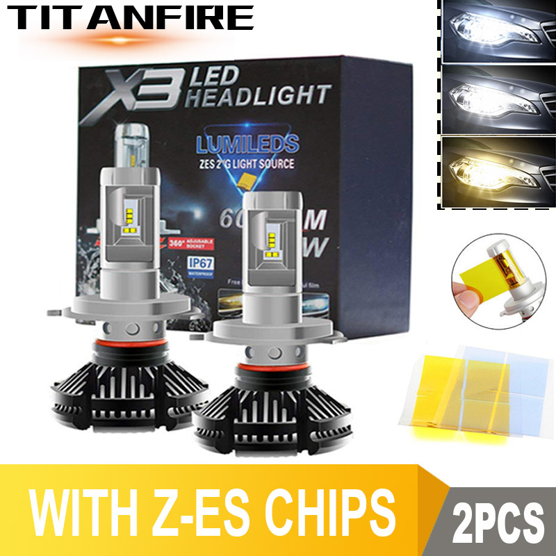 DS 2Pcs/lot <font><b>LED</b></font> <font><b>Headlights</b></font> Bulbs Conversion Kit H1 H11 HB3 9005 9006 Lights 50W <font><b>6000LM</b></font> Auto X3 ZES Car <font><b>H4</b></font> 3000K/6500K/8000K image