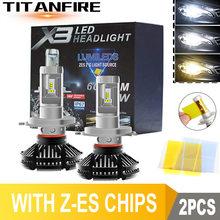 ZK30 2 Pçs/lote LED Faróis Lâmpadas Kit de Conversão H1 H11 HB3 9005 9006 Luzes 50W 6000LM Auto X3 ZES H4 Carro 3000K/6500K/8000K