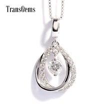 TransGems 0.5 Carat F Color Lab Grown Moissanite Pendant with Genuine Diamond Accents Solid 18K Whtie Gold Women Slide Pendant