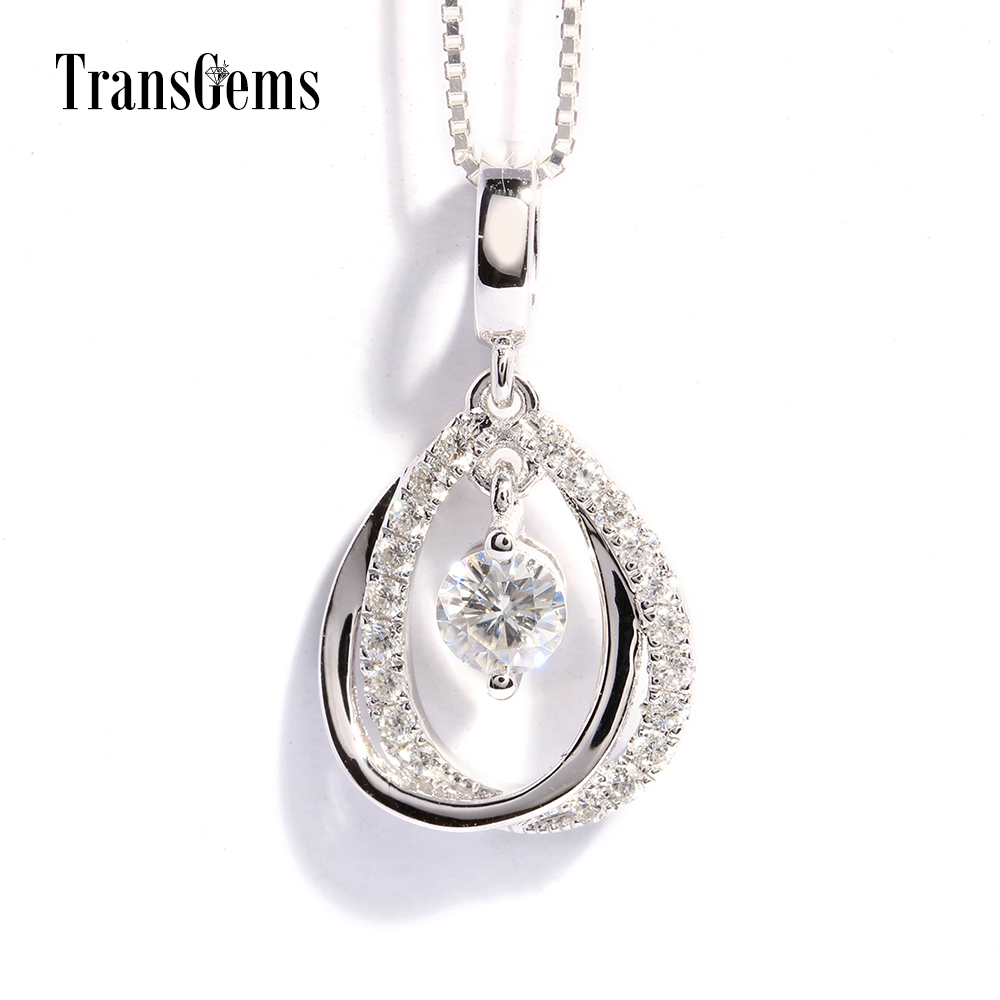 TransGems 18K Whtie Gold 0.5 Carat F Color Lab Grown Moissanite Pendant with moissanite Accents Solid Women Slide Pendant 18k 750 white gold moissanite pendant round cut lab grown moissanite diamond chain pendant necklace for women in fine jewelry
