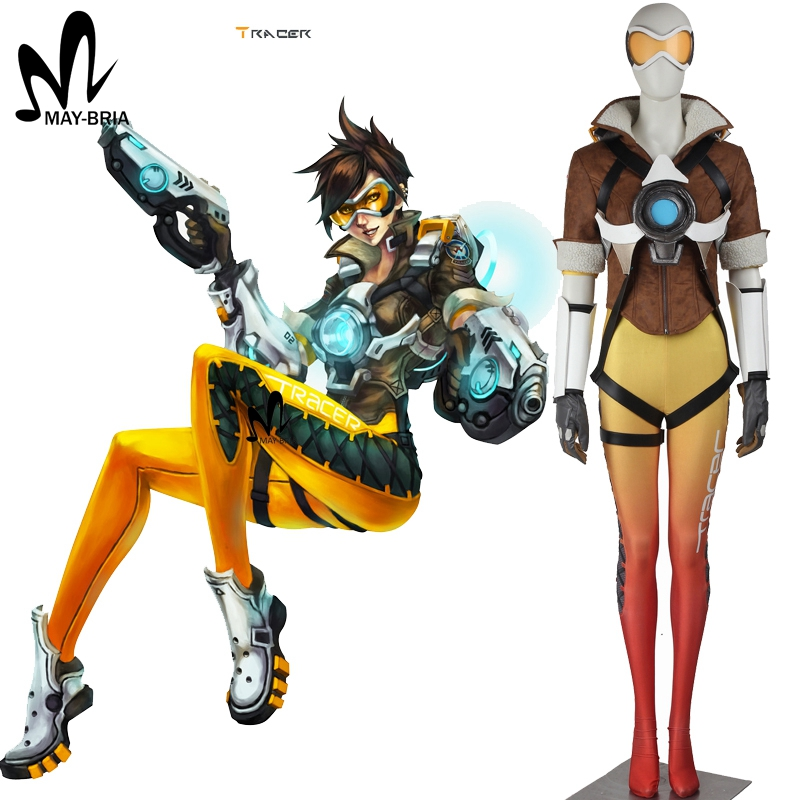 Popular game OW cosplay Lena Oxton Tracer suit soldier 76 Tracer cosplay costume Halloween costumes for Adult Tracer costume