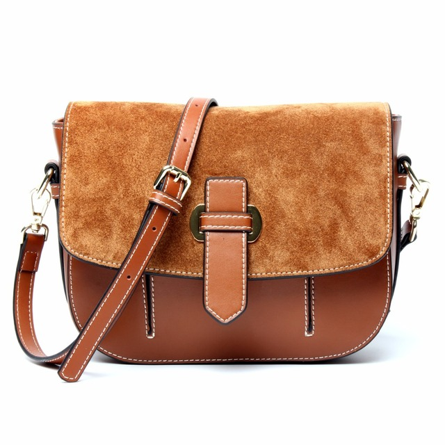 db4e07138f 2017 Saddle Suede Crossbody Bags For Women Split Leather Brown Cover  Vintage Luxury Handbags Women Bags