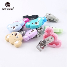 Lets make Pacifier Clip Of Cartoon Animals Koala 10pc Silicone Teethers DIY Nursing Soother Clips Chains BPA Free Baby Teethers