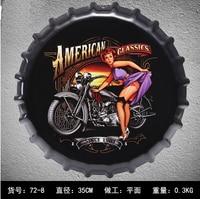 American Classic Style Motor & Lady Bottle Cap Decorative Metal Plate Plaque Vintage Pub Wall Metal Sign Vintage Home Decor 35CM