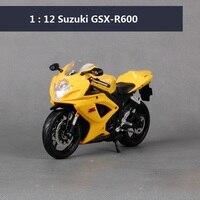 Maisto 1:12オートバイモデルスズキgsx-r600用レース車ダイキャストバイクメタルモデル子供のおもち