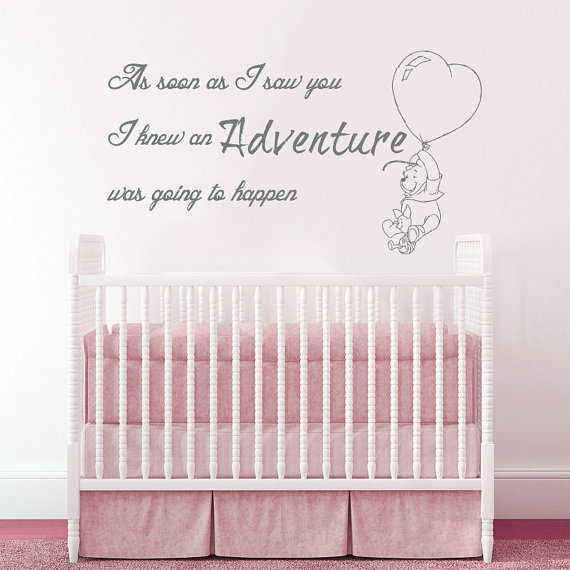 Winnie The Pooh Wall Decal Quote As Soon As I Saw You I Knew An Adventure  Was Going To Happen Wall Sticker Babys Nursery Art In Wall Stickers From  Home ... Part 39
