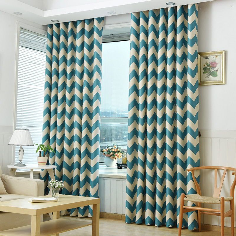 Blackout curtains modern window treatment blind shade living room door geometric bedroom curtain panel children room short