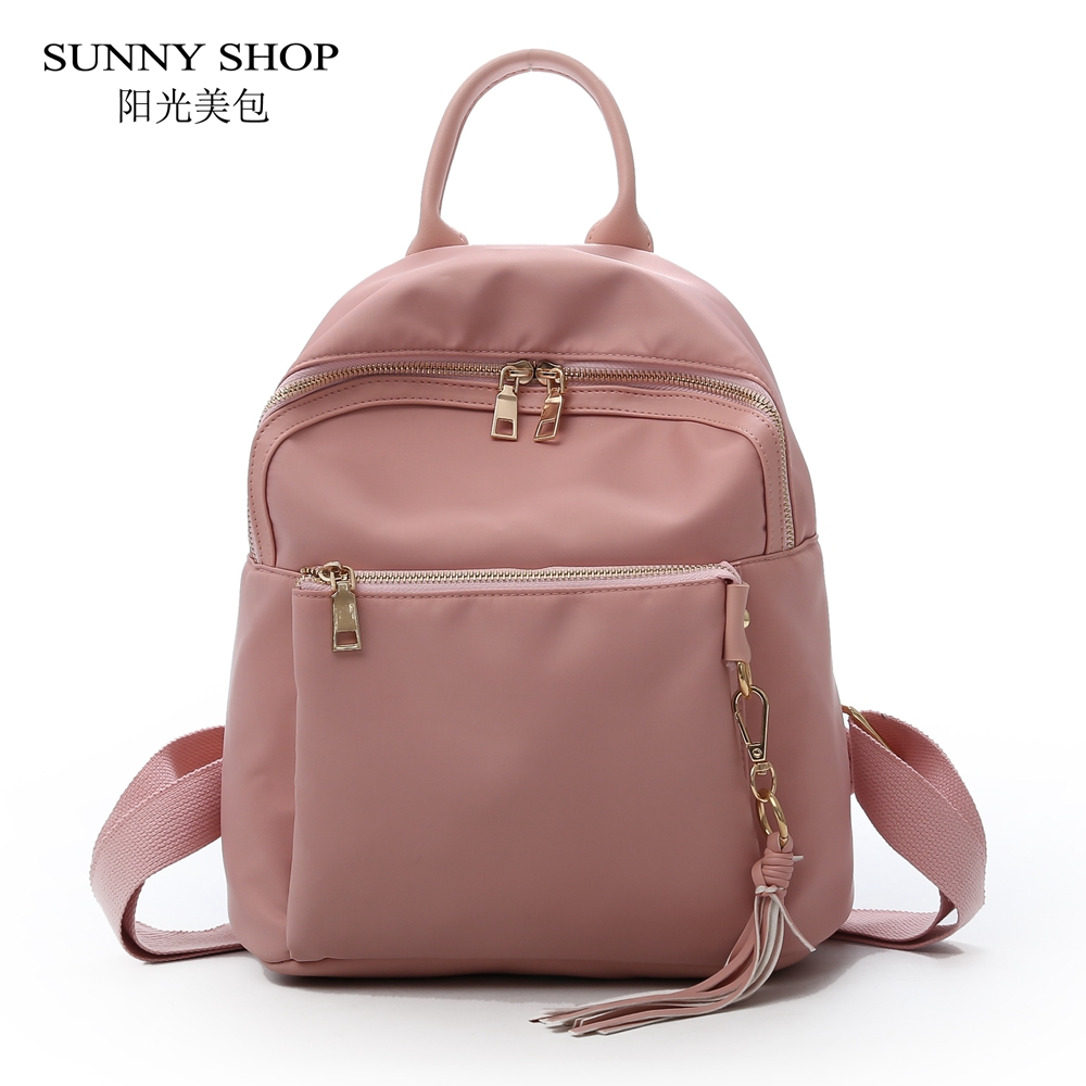 SUNNY SHOP Casual Nylon Backpack Tassel Women 2018 Stylish Small Bagpack For School Girls Female Cute Notebook backpack Candy