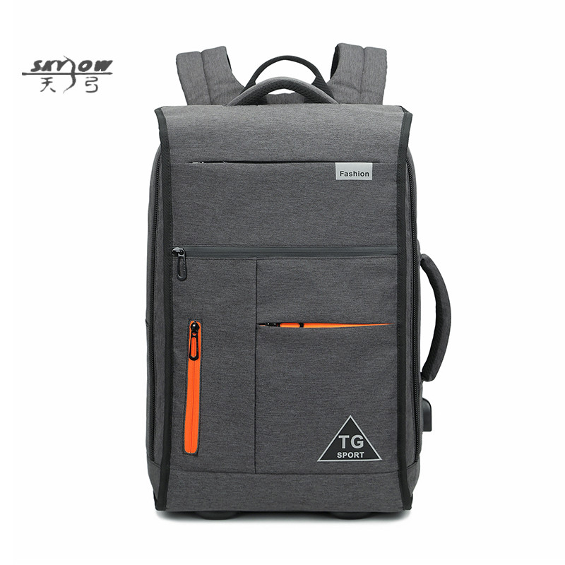 Usb Bags 17 Inches Laptop Backpacks Large Capacity Classic Solid Bags 8959 Men Waterproof Backpack Gray Travel Bags