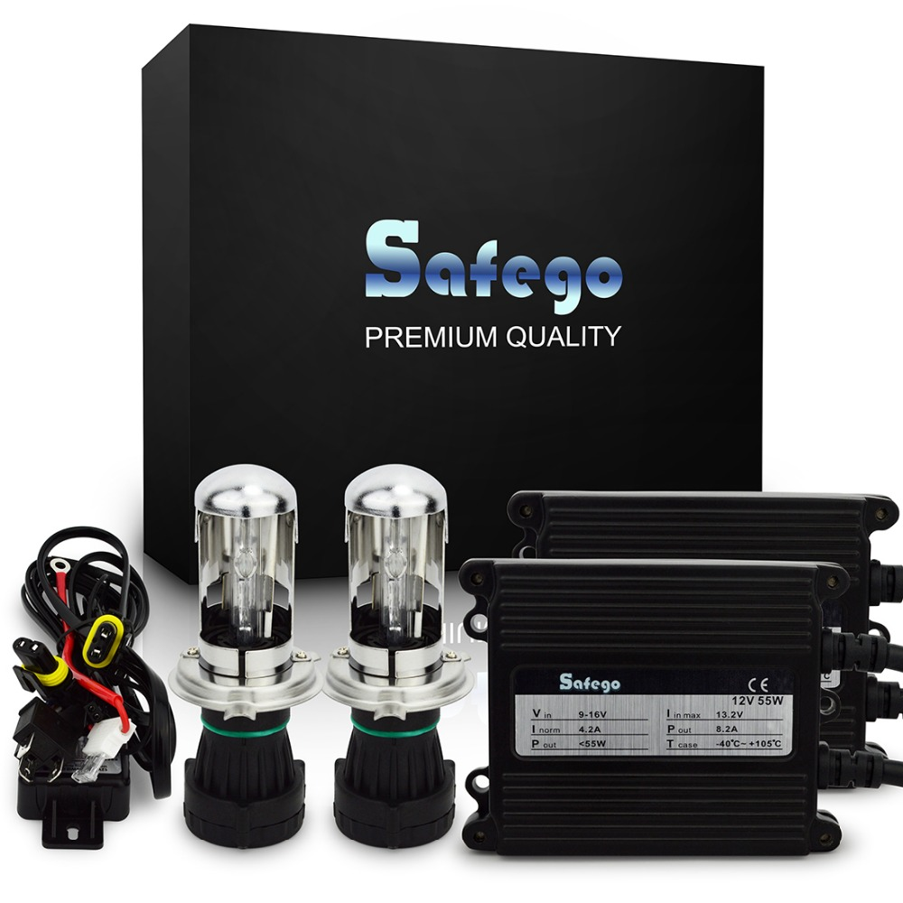 Safego AC 12V hid xenon kit 55w H4-3 Bi xenon H4 high Low Hi/lo Bixenon kit 4300K 5000K 6000K h4 xenon 55w car headlight bulbs