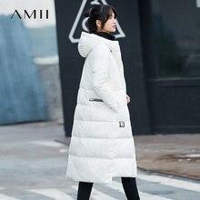 Amii минималистский 2017, женская обувь зима прямые 90% белая утка Подпушка принт длинное пальто Толстовки Женская мода легкая куртка Пальто для будущих мам