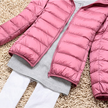 цена на 2017 Autumn Winter New 90% White Duck parka female Jackets hooded Warm Zipper Women Fashion Light Casual Slim Outwear S-3XL
