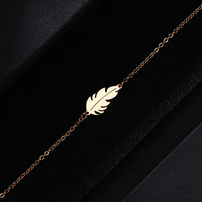 CACANA Stainless Steel Sets For Women Feather Shape Necklace Bracelet Earring Jewelry Lover's Engagement Jewelry S379 7