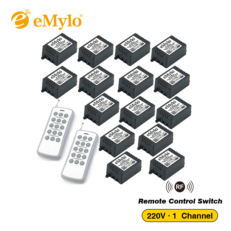 eMylo RF 433Mhz Remote Control Light Switch AC 220V-230V-240V 1000W 2X Transmitter 15X 1Ch Relays Toggle Switch Remote Control emylo 4x 220v 1000w 1channel 433mhz wireless rf realy remote control switch receiver with transmitter