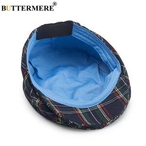 Image 4 - BUTTERMERE נשים משובץ שטוח כובעי זכר מזדמן כותנה בציר כומתות כובעי קיץ אביב קלאסי משובץ אופנתי גטסבי כובע