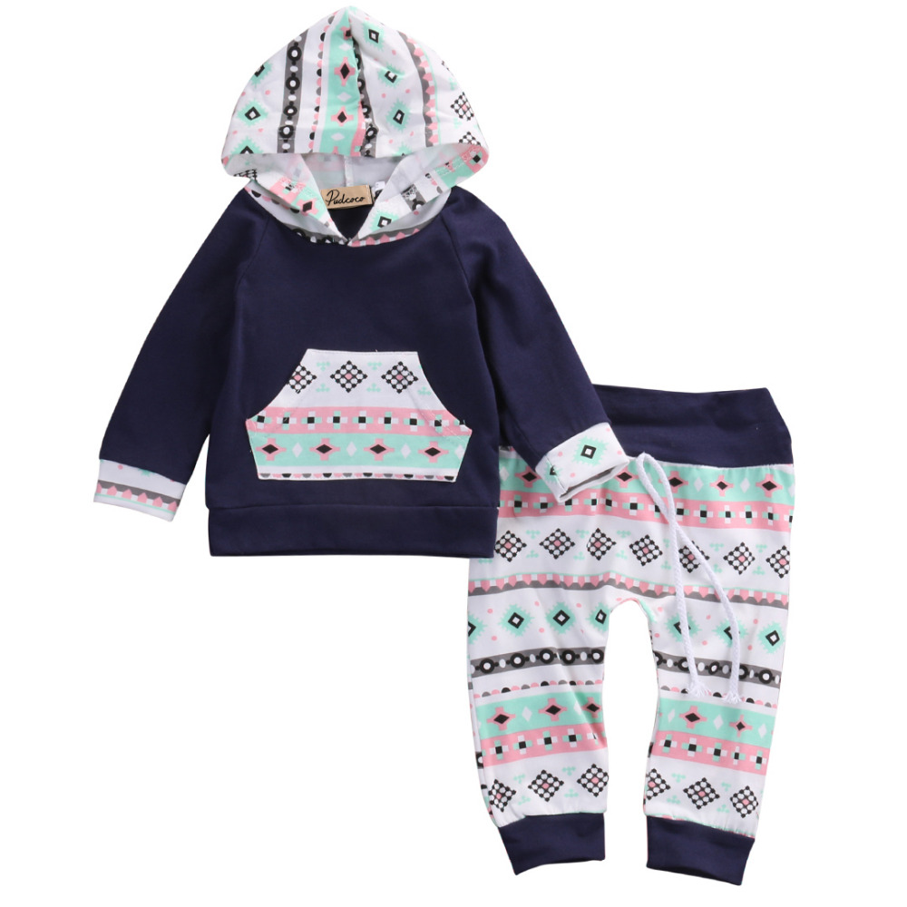 2pcs!!Newborn Baby Girl Boy Clothes Navy Blue Long Sleeve Hooded Tops T-shirt+Floral Pants Leggings Cotton Baby Outfits Set 2pcs boy kids long sleeve tops pants nightwear sleepwear pajama pyjamas outfits