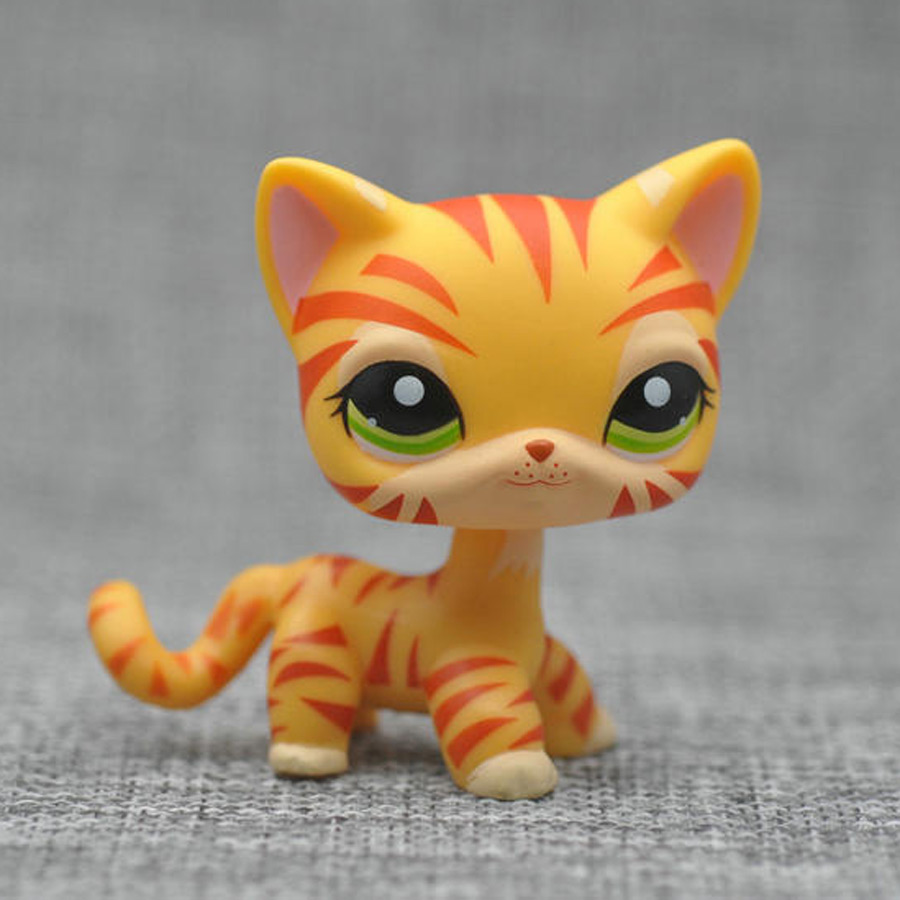 Original 8cm Lovely Pet Collection Action Figure LPS Cat Dog Puppy #1451 Orange & Yellow Striped Tiger Kitty With Opp Bag cute pet rare color sausage short hair dog action figure girl s collection classic anime christmas gift lps doll kids toys