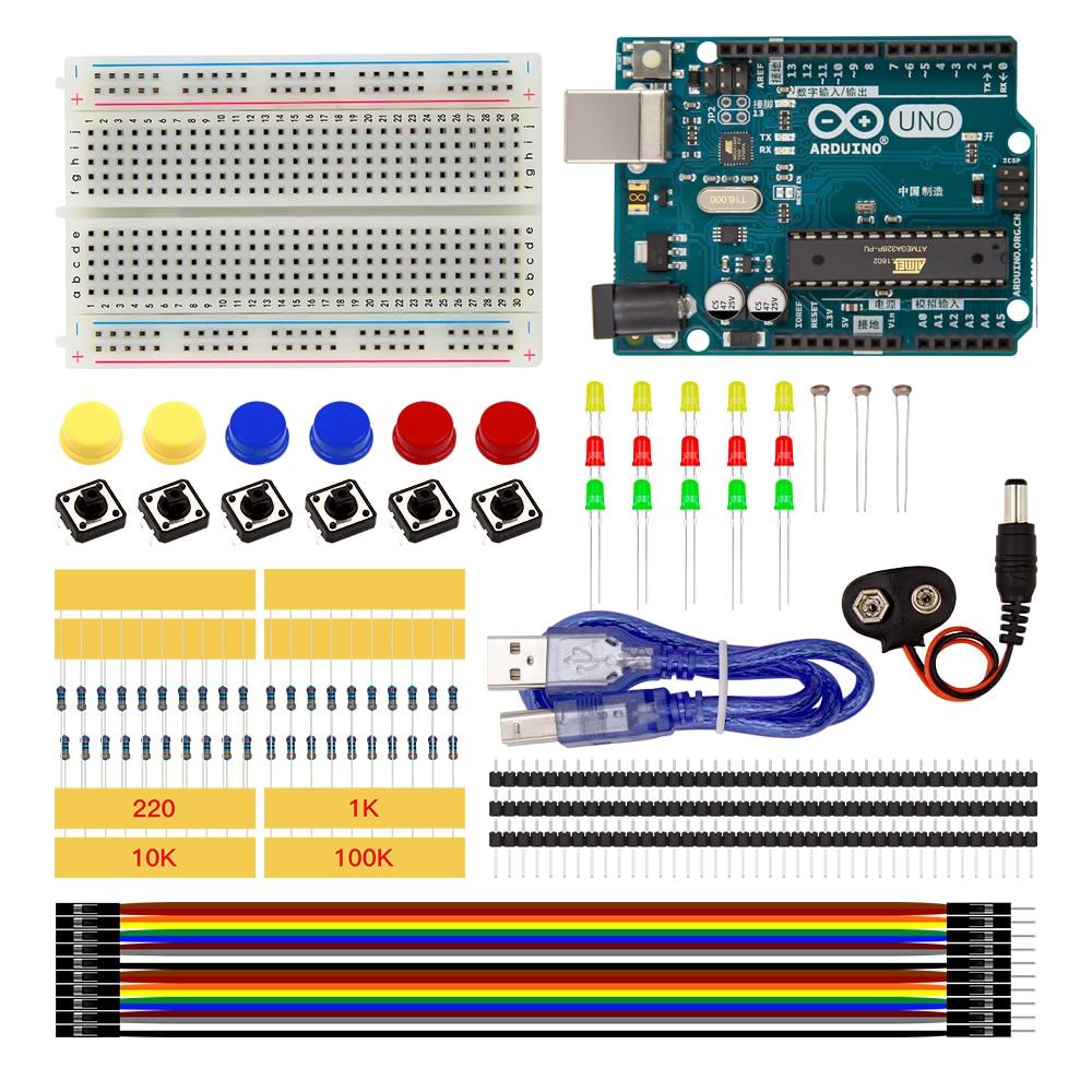 Arduino UNO R3 Starter Kit MINI Breadboard LED Jumper Wire button for