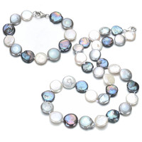 SNH 13mm mixed color coin pearl set natural freshwater pearl sets jewelry 925 sterling silver clasp free shipping