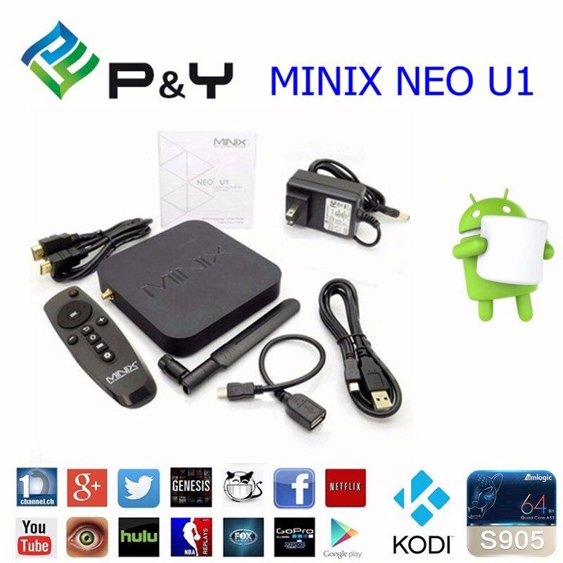 5pcs MINIX NEO U1 TV Box Amlogic S905 Quad Core 2G/16G 802.11ac 2.4/5GHz WiFi H.265 Ultra HD IPTV Smart TV Box in Stock gotit minix neo x6 android 4 4 kitkat tv box quad core amlogic s805 1gb 8gb wifi bluetooth smart ott tv box