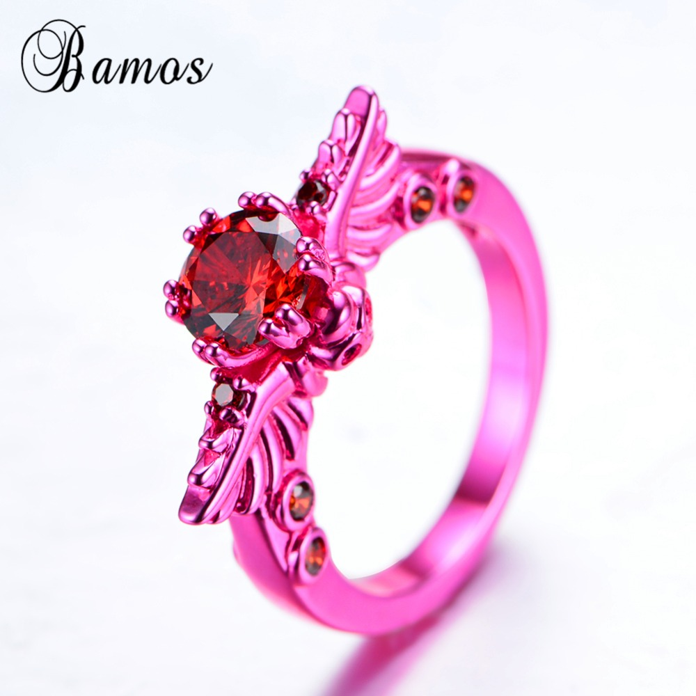 Bamos Unique Female Skull Ring Punk Pink Gold Filled Rings For Women ...