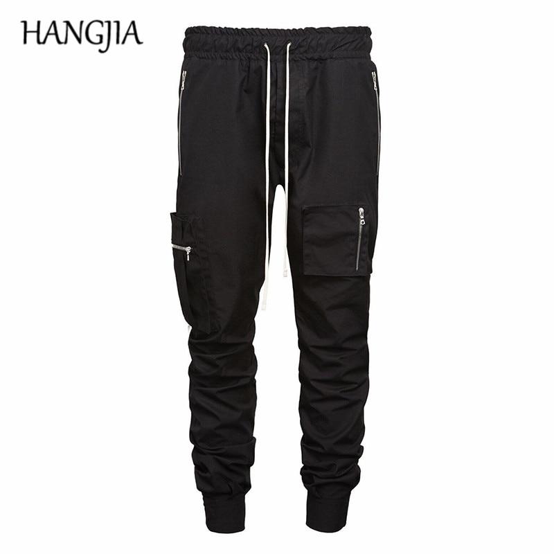 Kaki/noir Cargo pantalon homme boutons fendu multi-poches fonction pantalon Streetwear Biker Sweat pantalon a la mode homme