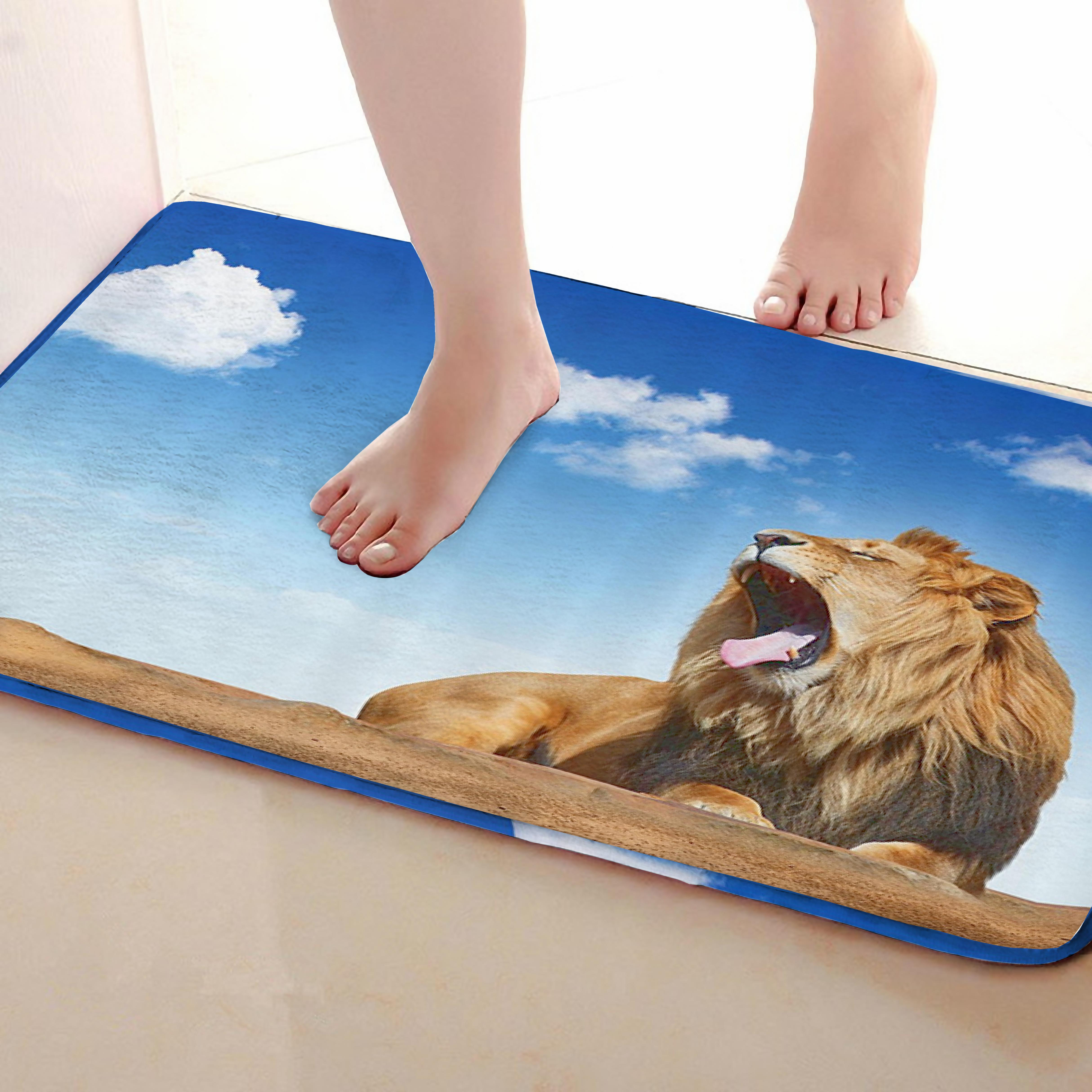 Lion Style Bathroom Mat,Funny Anti Skid Bath Mat,Shower Curtains Accessories,Matching Your Shower Curtain