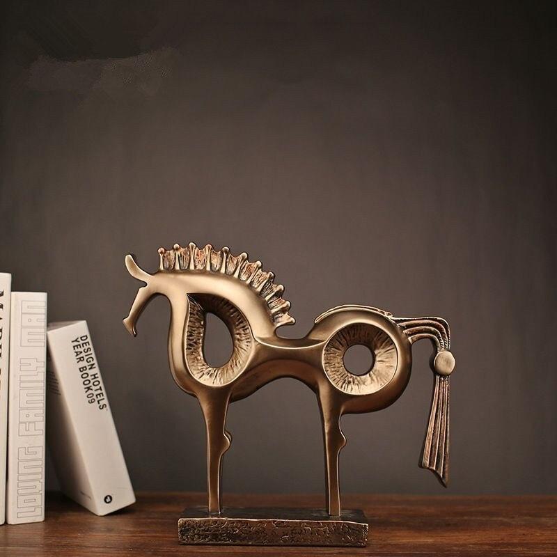 2018 précipité vente Mrzoot moderne abstrait or Imitation cuivre cheval Statue résine décoration maison accessoires cadeau