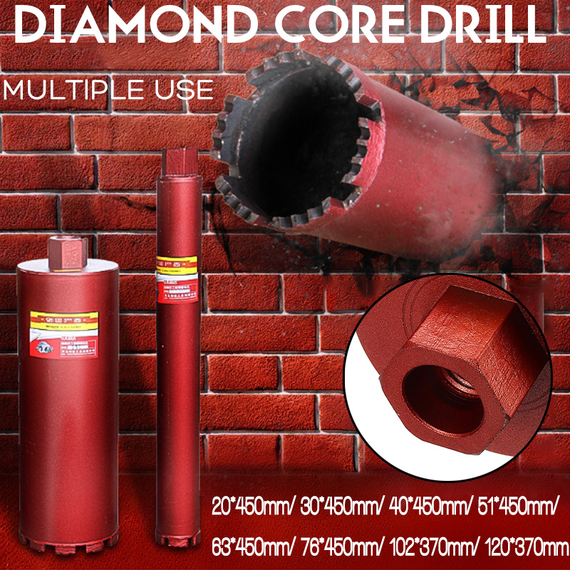 Diamond Core Drill Bit Hole Saw Puncher For Air-conditioner Water Supply Concrete 20/30/40/51/63/76/102/120mm*450mm