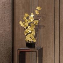 Современные роскошные золотые металлические фигурки листьев гинкго, украшения для дома, офиса отеля, фэншуй, настольные Железные украшения, Декор, подарок