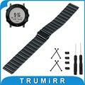 24mm Faixa de Relógio de Aço Inoxidável + Adaptador Lug + Ferramenta para Suunto Core Dobrável Cinto de Fivela Correia de Pulso Pulseira Preta prata