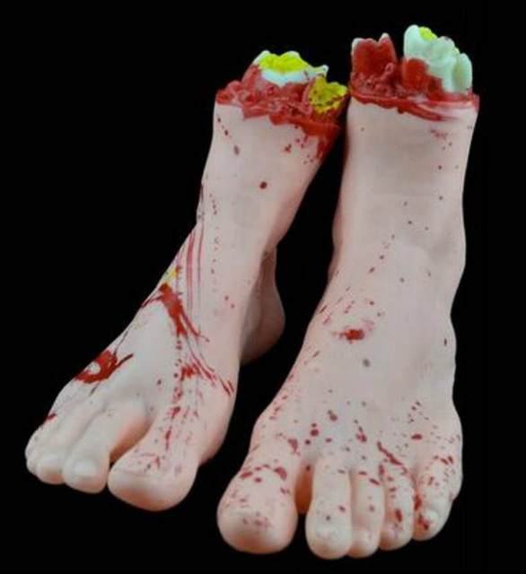 severed limb foot halloween scary haunted party decoration 2 feet