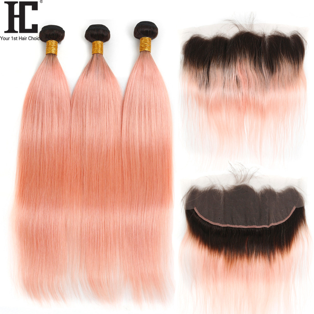 HC Dark Roots Rose Gold Ombre Lace Frontal With Hair Bundles 1B Pink Ombre Straight Hair Weave 3 Bundles With Lace Frontal Remy