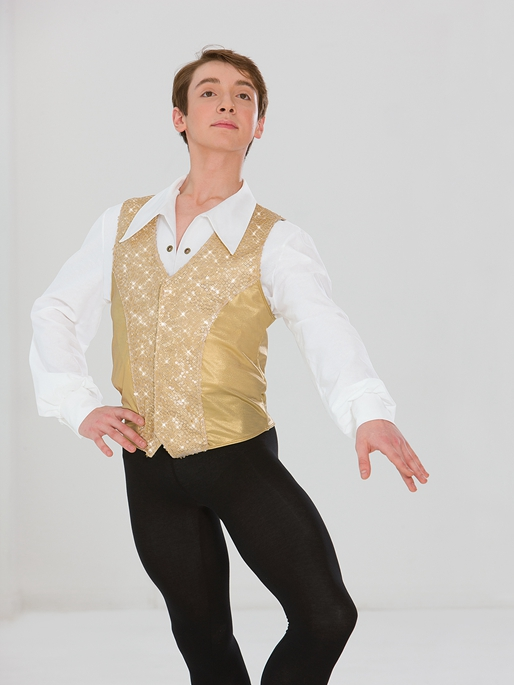 Male Ballet Jazz Dance Wear Sequined Vest Set Dance Wear Male Partner Theatrical Costume