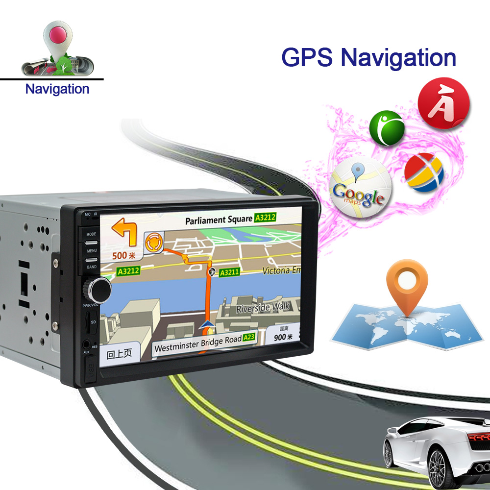 AMprime Android 6.0 Car Radio Stereo GPS Navigation Bluetooth 2 Din Touch Screen Car Audio Player Autoradio USB SD FM Player
