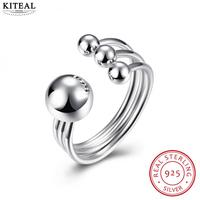 KITEAL NEW Pure 925 Sterling Silver White Size 8 Engagement Rings For Women Light Bead Sterling