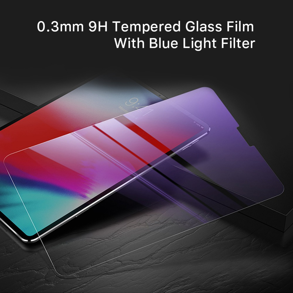 2pcs Premium Screen Protector for 2018 Apple iPad Pro 11 Pencil Scratch Proof 0.3mm Tempered Glass Film With Blue Light Filter