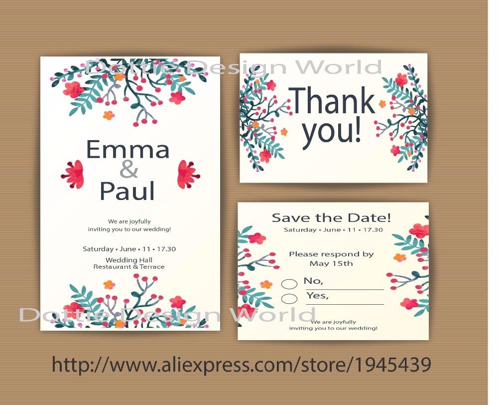 20 Pcs Wedding Decoration Watercolor Flower Wedding Invitation Set