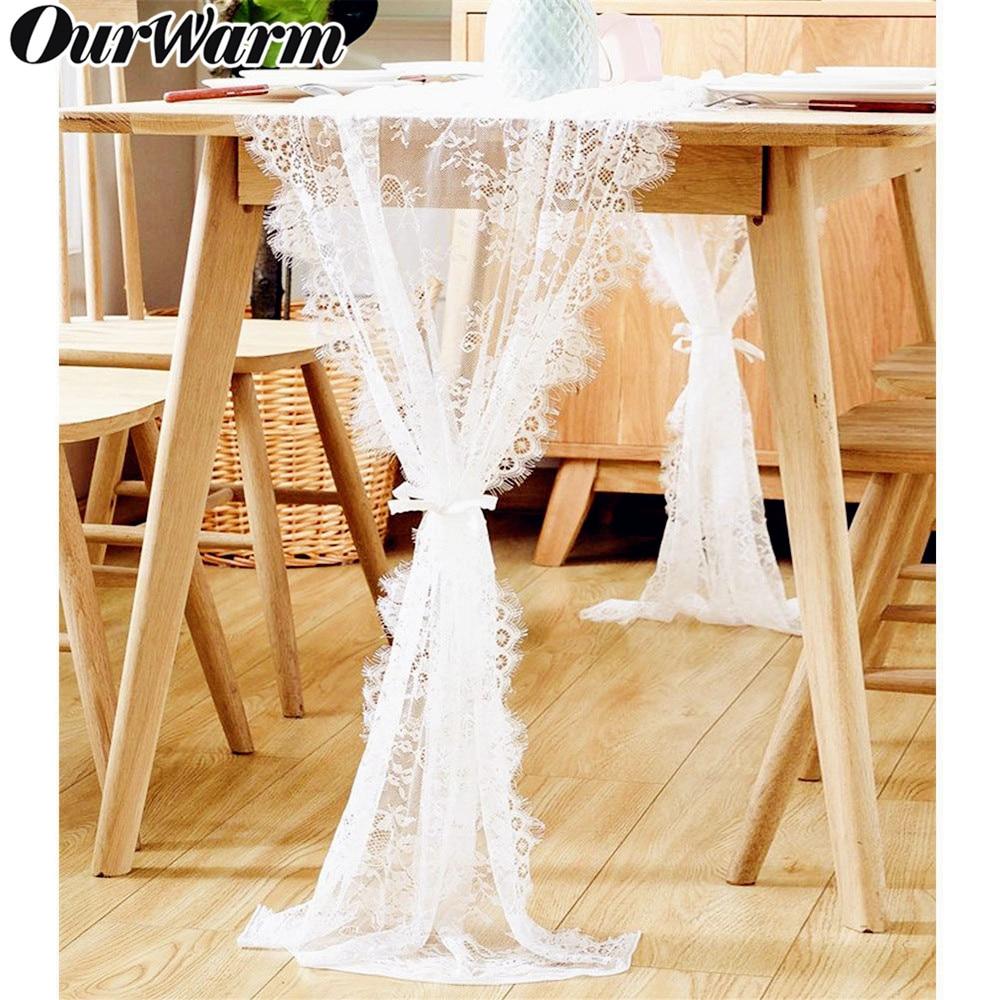 OurWarm Floral Branco Corredor Da Tabela Do Laço Rosa Toalha de Mesa de Jantar Banquete Chair Sash Batismo Partido da Tabela Do Casamento Decoração 300 centímetros