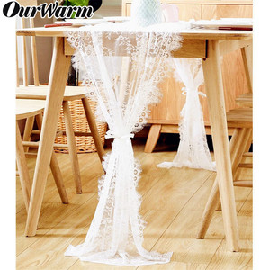 OurWarm White Floral Lace Table Runner Rose Table Cloth Chair Sash Dinner Banquet Baptism Wedding Party Table Decoration 300cm(China)