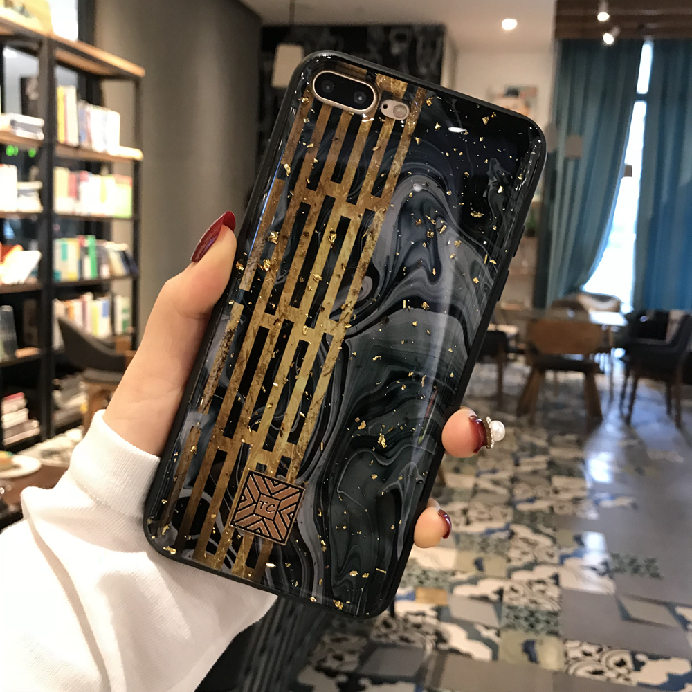 Gold Foil Marble Bling Phone Case For iPhone X XS Max XR Soft TPU Granite Geometry Cover For iPhone 7 8 6 6s Plus Glitter Case (3)