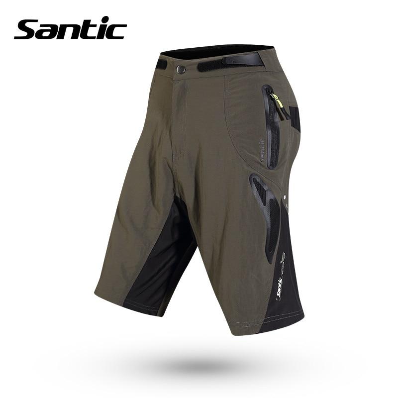 цена на Santic Men Cycling Padded Shorts Loose Short + Seamless Inner Underwear Summer Breathable MTB Shorts Cycling Clothings M5C05059V