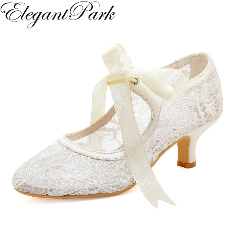 Women Wedding Shoes Lace Ivory Close Toe Mary Jane Mid Heel Lace-up Bride Lady Prom Party Bridal Pumps Comfortable HC1702 cut out pink satin ivory lace wedding peep toe kitten heel bridal shoes mary jane