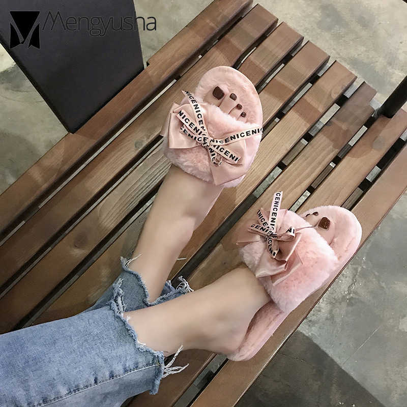 2cf15abab5cc5 riband bow letter print home fur shoes woman winter warm open toe fluffy  mules lady slipper