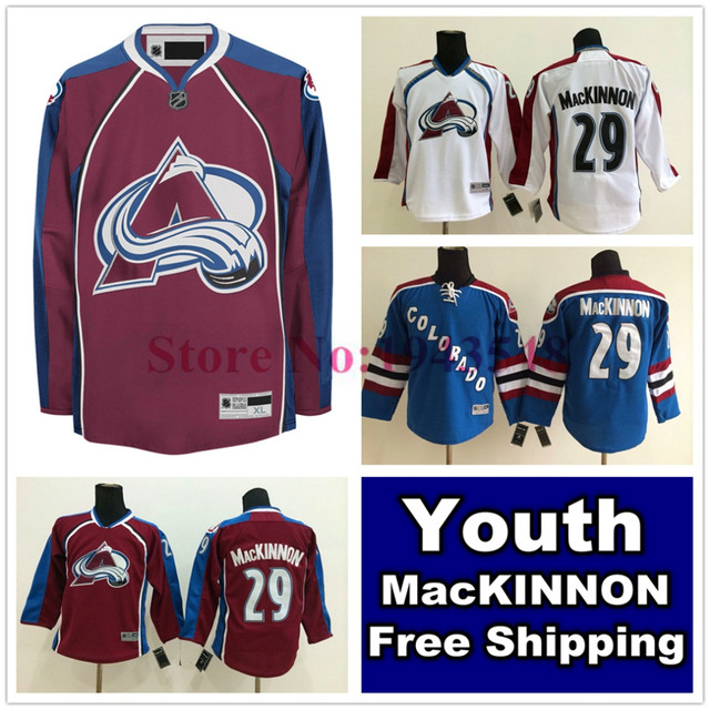 free shipping d2cb5 e053a colorado avalanche 29 nathan mackinnon red kids jersey