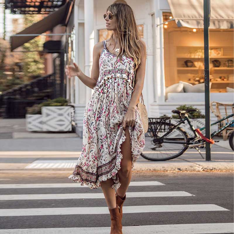 KHALEE YOSE Vintage Boho Summer Dress Floral Print Dresses Women High Waist Sleeveless Hippie Gypsy Holiday Casual Midi Dress