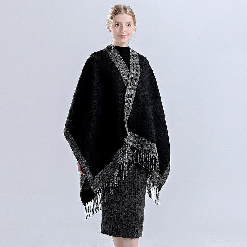 New Fashion Brand Women's Winter Poncho Vintage Blanket Warm Scarf Shawl Cape Cashmere Feel Cozy Scarves Poncho for Ladies