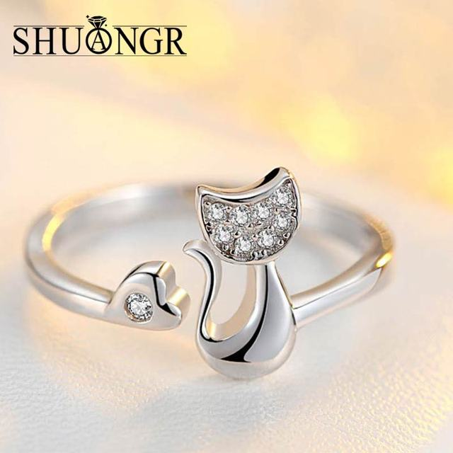 SHUANGR Charm Crystal Top Quality Cubic Zirconia Crystal Inlaid Cute Animal Cat