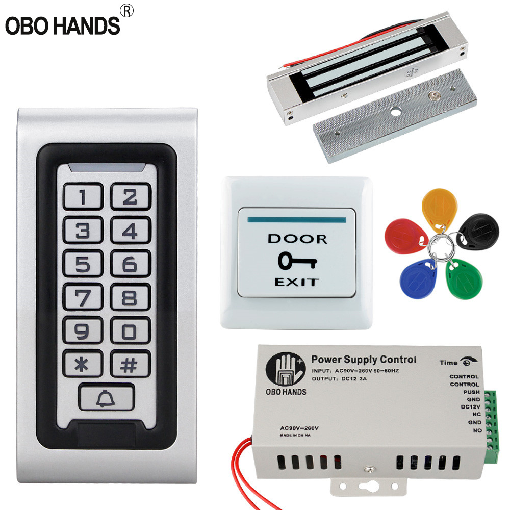 Access Control System Kit 125KHz IP68 Waterproof RFID Keypad Metal Board + Electric Lock +Door Exit Switch Power Supply Outdoor